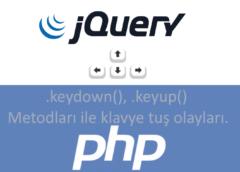 jQuery .keydown(), .keyup() Metodu Kullanımı ve Örnekler